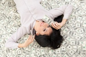 lady laying on money