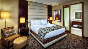 Upgrade to the Presidential Suite for a luxurious stay with a separate living area.